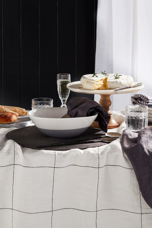 Hampton Linen Grid Tablecloth
