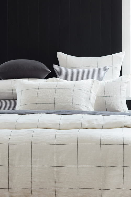 Hampton Linen Grid Duvet Cover Set
