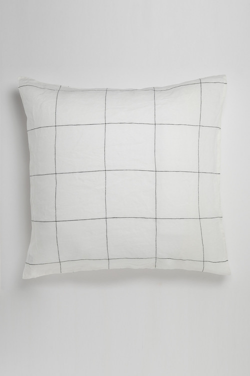 Hampton Linen Grid Euro Pillowcase Pair