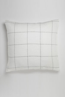 Hampton Linen Grid Euro Pillowcase Pair - 229927