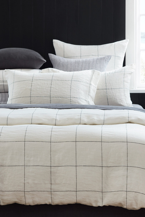 Hampton Linen Grid Pillowcase Pair