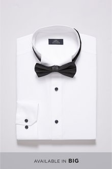 Next Slim Fit Single Cuff Wing Collar Shirt And Navy Bow Tie Set