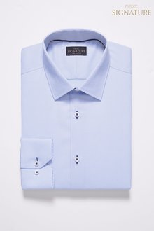 Next Signature Slim Fit Single Cuff Contrast Stitch Shirt