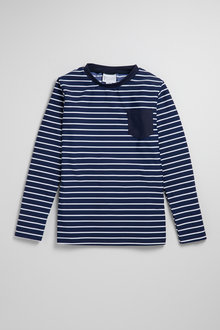 Pumpkin Patch Boys Long Sleeve Rash Top With Pocket Stripe