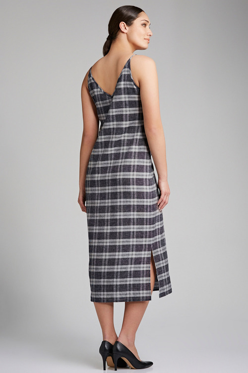 Grace Hill Linen Blend Check Slip Dress