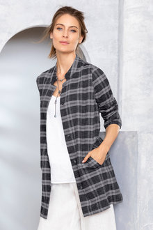 Grace Hill Linen Blend Check Jacket - 229962