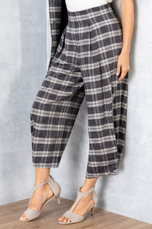 Grace Hill Linen Blend Check Pants