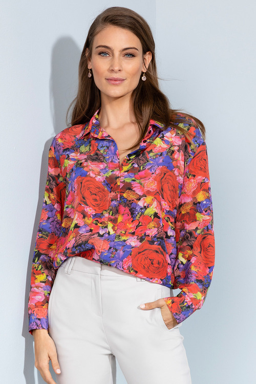 Grace Hill Silk Printed Shirt