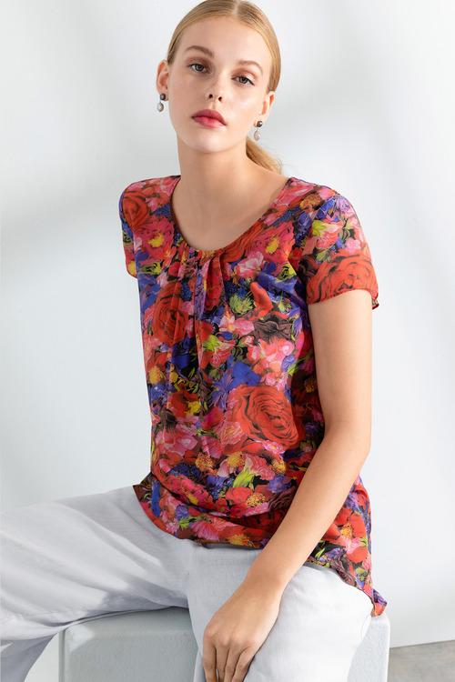 Grace Hill Silk Printed Top