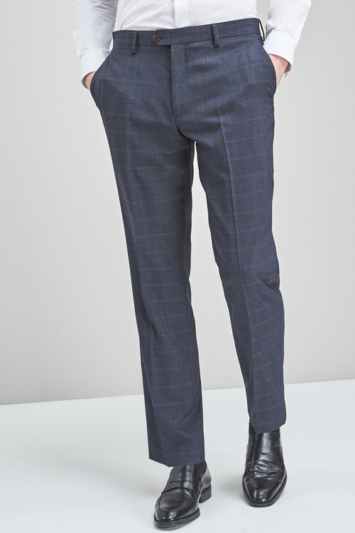 Next Check Wool Mix Regular Fit Trousers