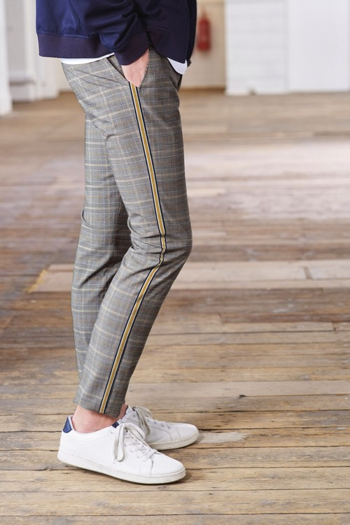 Next Side Stripe Check Super Skinny Fit Trousers