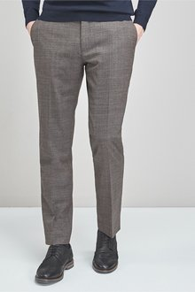 Next Signature Wool Blend Stretch Flannel Trousers- Tailored Fit