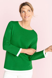 Capture Contrast Trim Sweater - 230072