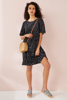 Capture Ruffle Sleeve Shift Dress - 230074