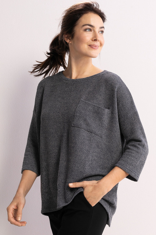 Capture Textured Drop Shoulder Top