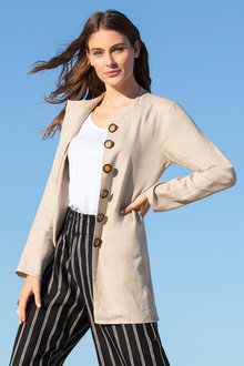 Capture Linen Longline Jacket - 230084