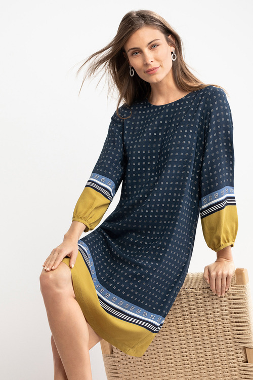 Capture Border Print Shift Dress