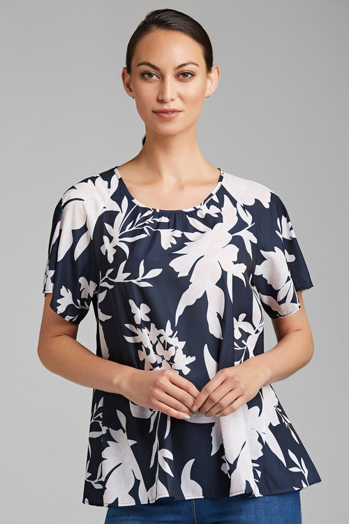 Capture Flutter Sleeve Shell Top