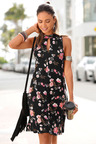 Urban Floral Cut Out Neck Dress