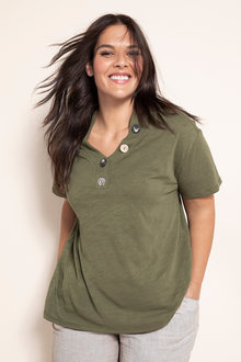 Plus Size - Sara Button V Neck Top