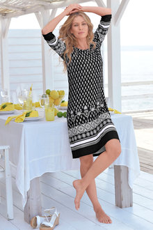 Euro Edit Border Print Dress