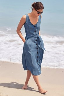 Next Button Through Tencel Dress