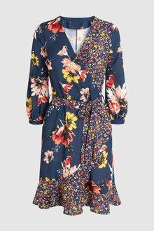 Next Floral Mixed Print Wrap Dress