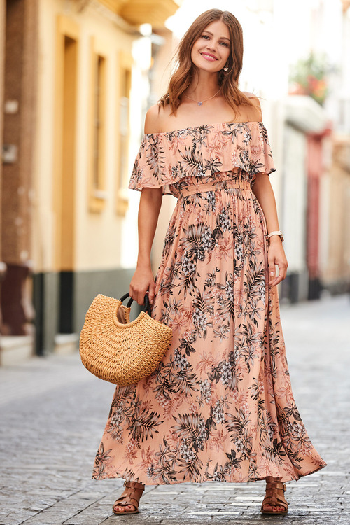 European Collection Printed Bardot Maxi Dress