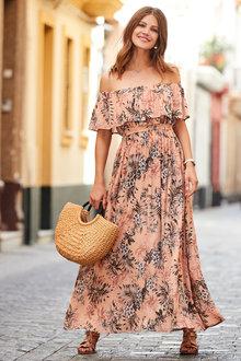 European Collection Printed Bardot Maxi Dress