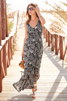 European Collection Palm Print Maxi Dress