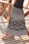 European Collection Palm Print Tiered Maxi Skirt