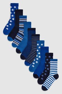 Next Star Stripe Socks Ten Pack (Older)