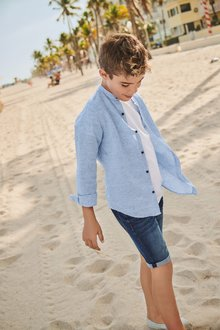 Next Long Sleeve Linen Mix Gingham Shirt (3-16yrs)