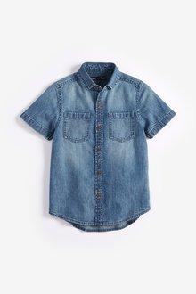 Next Short Sleeve Washed Shirt (3-16yrs)