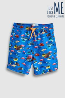 Next Bright Fish Print Swim Shorts (3mths-16yrs)