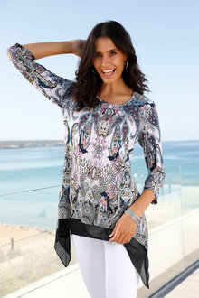 Euro Edit Paisley Print Top