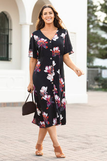 Plus Size - Sara Button Through Dress