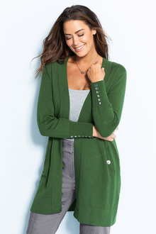 Plus Size - Sara Button Sleeve Cardi