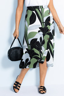 Plus Size - Sara Side Button Skirt - 230839
