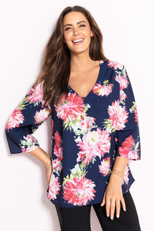 Plus Size - Sara V Neck Crepe Top
