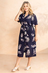 Plus Size - Sara Button Through Shirt Dress