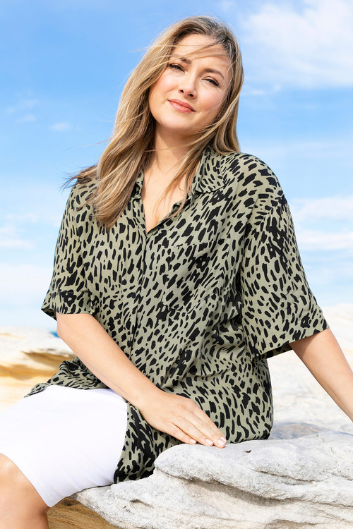 Plus Size - Sara Animal Print Shirt