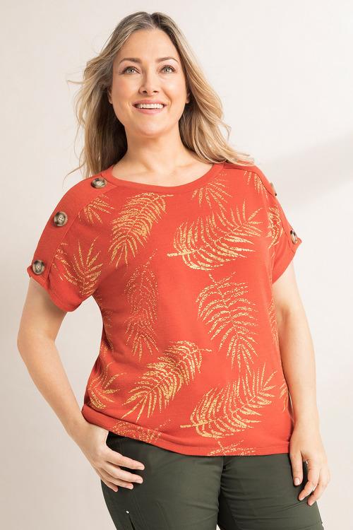 Plus Size - Sara Button Sleeve Top