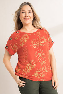 Plus Size - Sara Button Sleeve Top