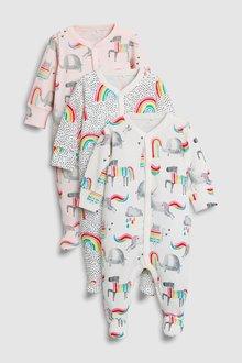 Next Unicorn/Rainbow Sleepsuits Three Pack (0mths-2yrs)