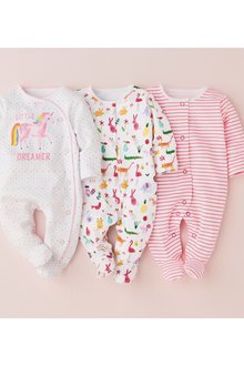 Next Bright Unicorn Character Sleepsuits Three Pack (0mths-2yrs)
