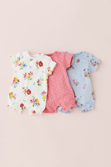 Next Multi Floral Rompers Three Pack (0mths-2yrs)