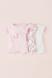 Next Elephant Character Rompers Three Pack (0mths-2yrs)