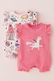 Next Space/Unicorn Print Rompers Two Pack (0mths-2yrs)