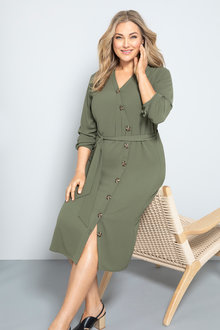 Plus Size - Sara Angled Button Dress